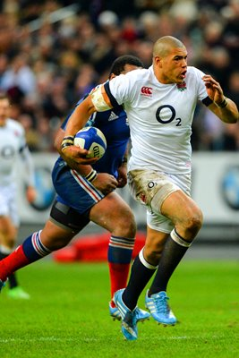 Luther Burrell England scores v France Paris Six Nations 2014