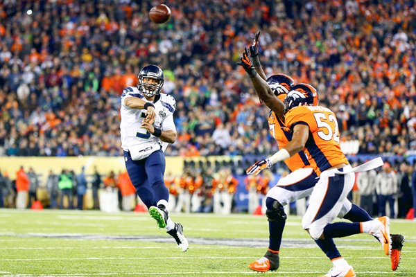 Russell Wilson Seattle Seahawks v Broncos Super Bowl 2014