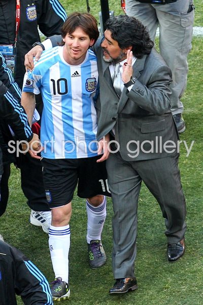 Lionel Messi and Maradona Argentina World Cup 2010