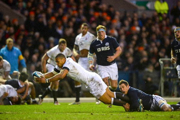 Luther Burrell England scores v Scotland Six Nations 2014