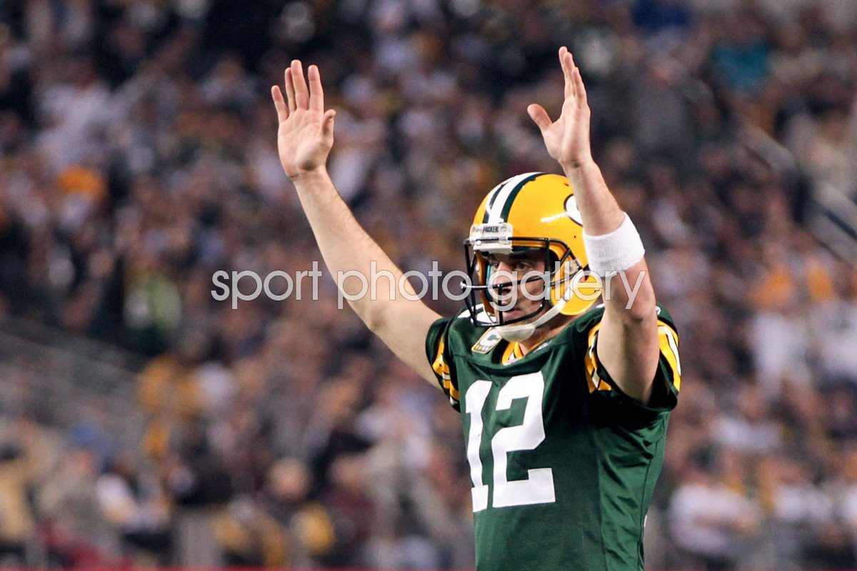 Aaron Rodgers of the Green Bay Packers celebrates Super Bowl XLV