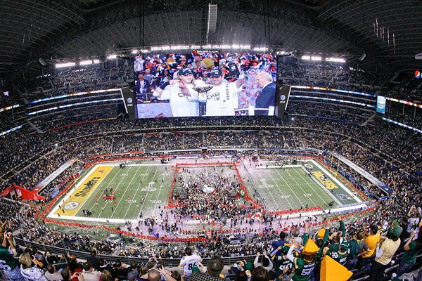 The Green Bay Packers celebrate at Cowboys Stadium Super Bowl XLV