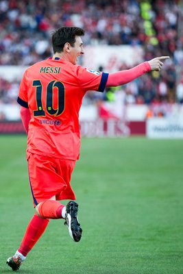 Lionel Messi FC Barcelona celebrates scoring