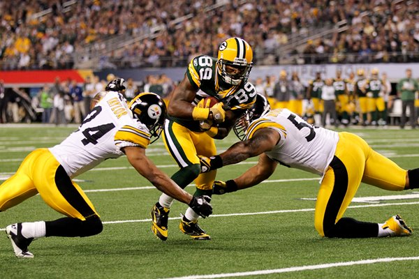 James Jones of the Green Bay Packers avoids tackle Super Bowl XLV