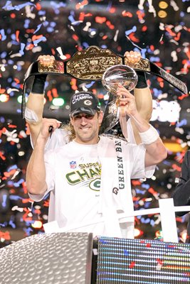 Aaron Rodgers holds up the Vince Lombardi Trophy Super Bowl XLV