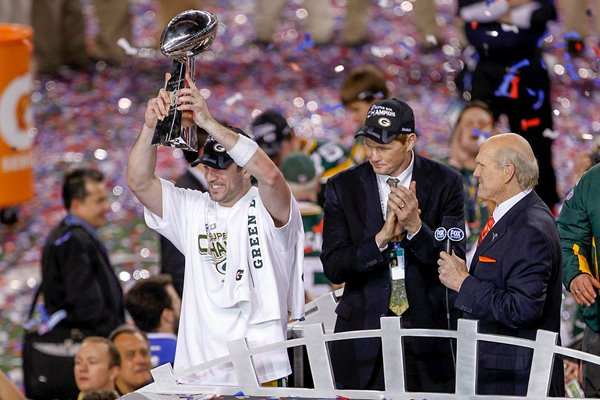 Aaron Rodgers lifts The Vince Lombardi Trophy Super Bowl XLV