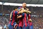 Daniel Alves Barcelona celebrates with team mates  Prints