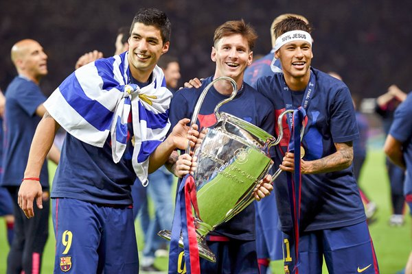 Suarez, Messi, Neymar Champions League trophy