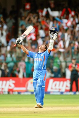 Sachin Tendulkar of India celebrates World Cup 100