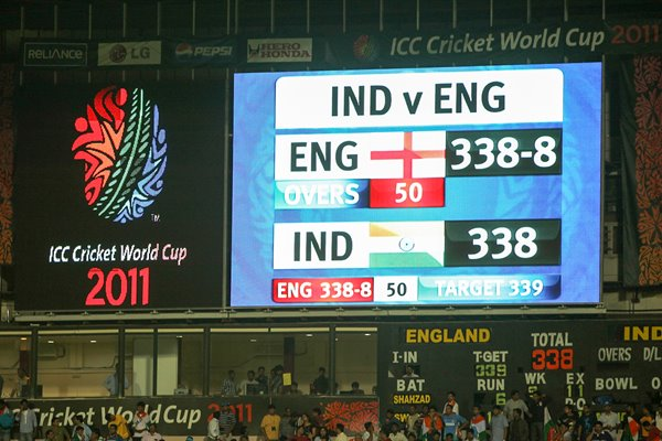 India v England Scoreboard - Tied Match