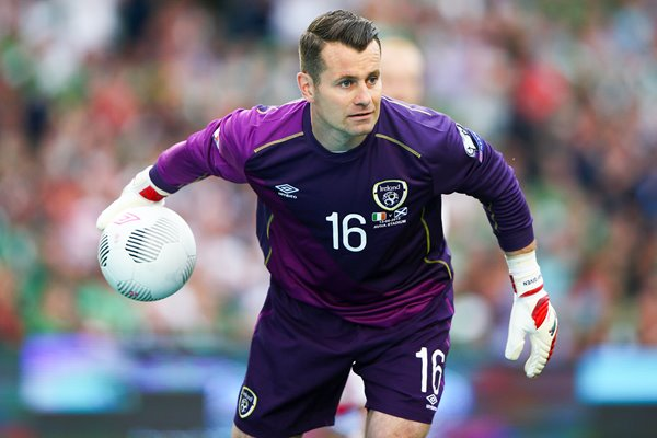 Shay Given Ireland rolls the ball out