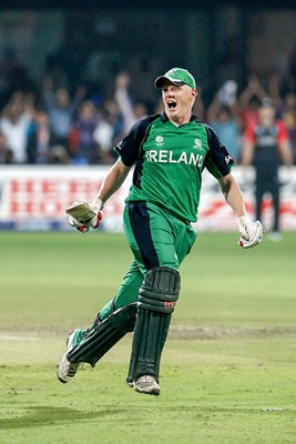 Kevin O'Brien celebrates 100 v England