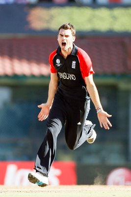 James Anderson celebrates Cricket World Cup 2011