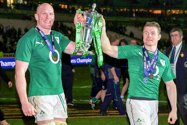 Paul O'Connell Brian O'Driscoll Ireland Six Nations Champions 2014