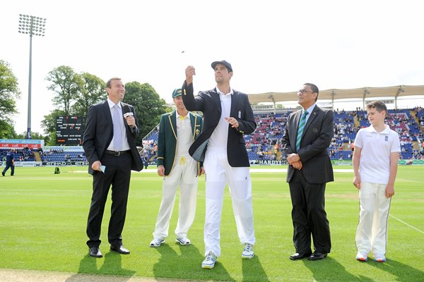 Alastair Cook & Michael Clarke Coin Toss Cardiff 2015