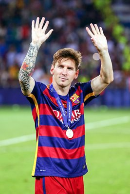 Lionel Messi Barcelona UEFA Super Cup Winners