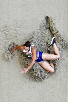 Jessica Ennis-Hill Long Jump birds eye view