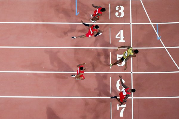 Usain Bolt Jamaica Men's 100m bird's eye view
