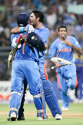 Yuvraj and MS Dhoni celebrate
