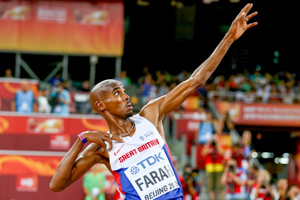 Mo Farah lightning bolt World Athletics 2015