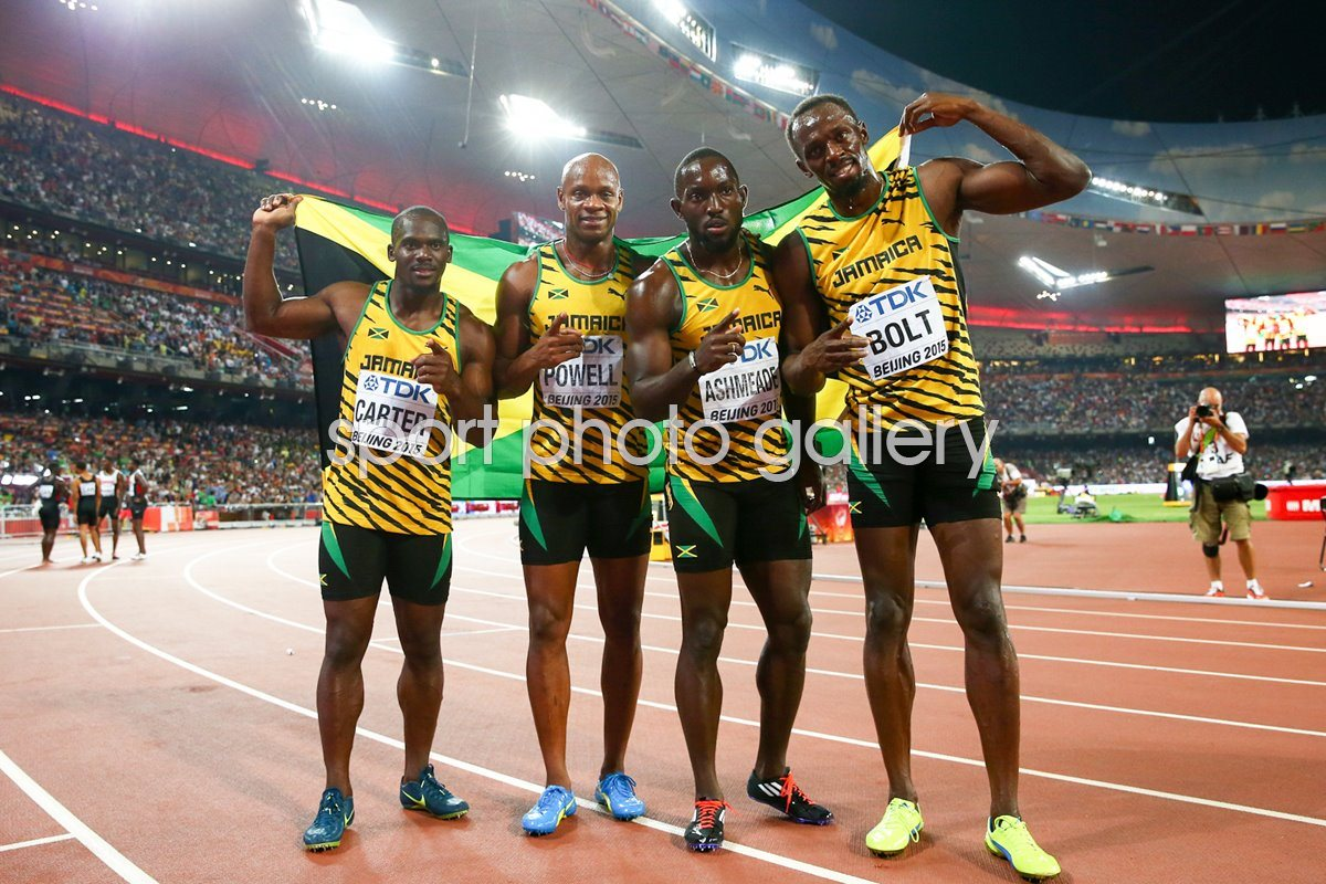 Jamaica 4x100m relay winners World Athletics Beijing 2015