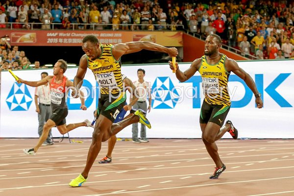Nickel Ashmeade to Usain Bolt Jamaica Relay Gold 2015