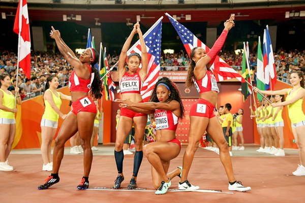 USA Women's 4x400m Relay Gold Beijing 2015