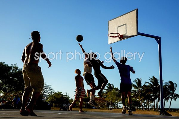 Local men play basketball in Samoa
