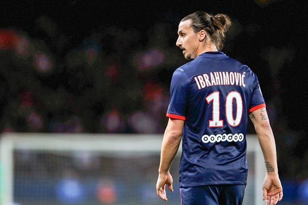 Zlatan Ibrahimovic of PSG looks on