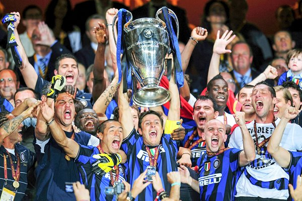 Javier Zanetti of Inter Milan lifts the Champions League trophy