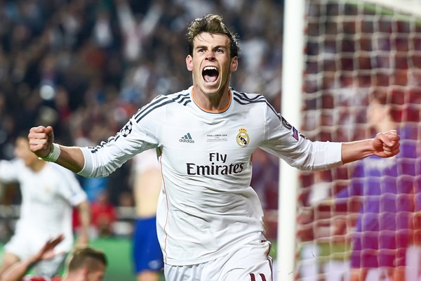 Gareth Bale Real Madrid celebrates Champions League 2014