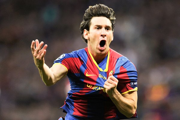 Leo Messi celebrates scoring in the Champions League Final