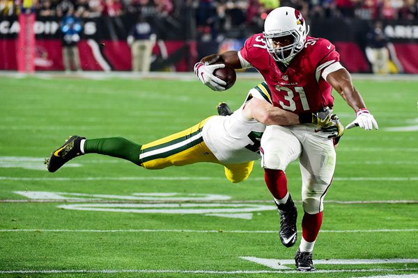 David Johnson #31 Arizona Cardinals is hit