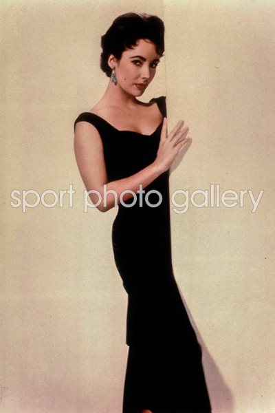 Actress Elizabeth Taylor wearing black dress