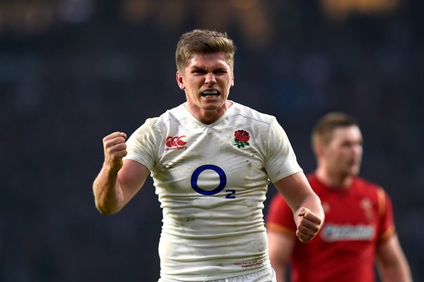 Owen Farrell England celebrates Triple Crown 6 Nations 2016