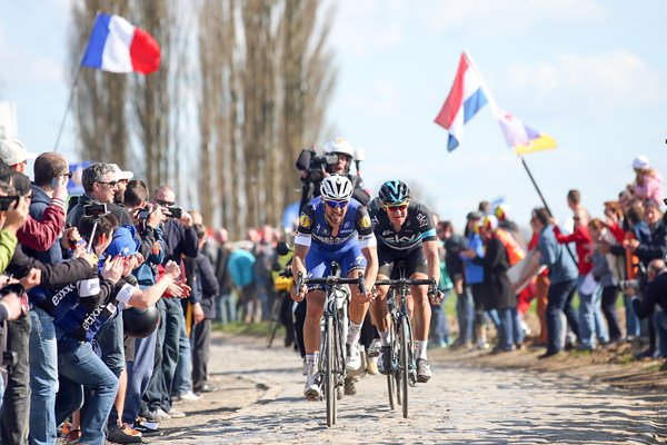 Tom Boonen leads Ian Stannard 2016 Paris - Roubaix