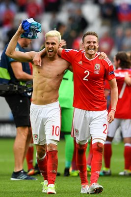 Aaron Ramsey and Chris Gunter Wales v Slovakia