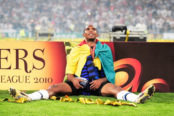 Samuel Eto'o of Inter Milan celebrates victory