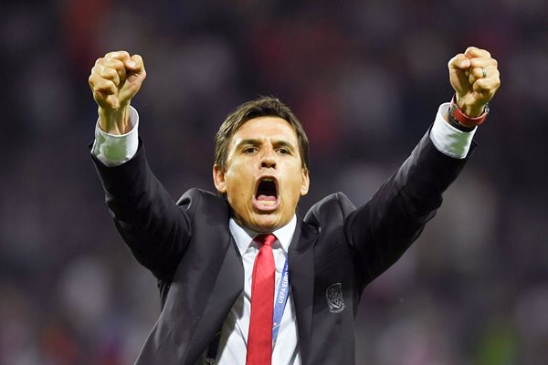 Chris Coleman Wales celebrates v Russia Toulouse 2016