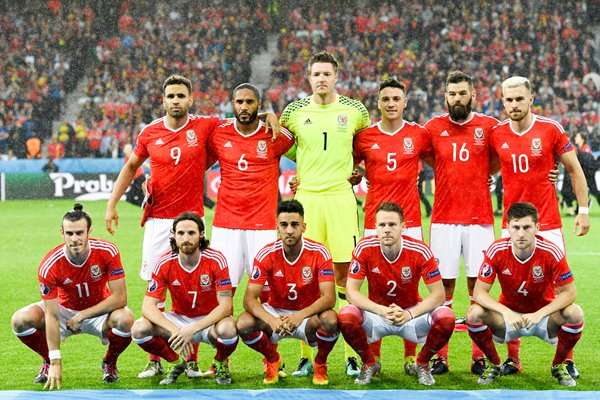 Wales team v Belgium Quarter Final Lille 2016