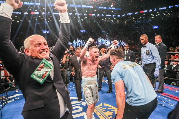 Barry McGuigan celebrates Carl Frampton win New York 2016