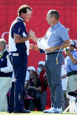 Phil Mickelson USA & Sergio Garcia Europe 2016 Ryder Cup