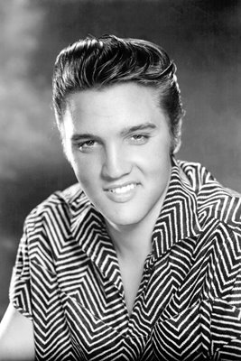 Elvis Presley black and white studio portrait