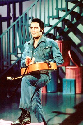 Elvis Presley rocks in overalls