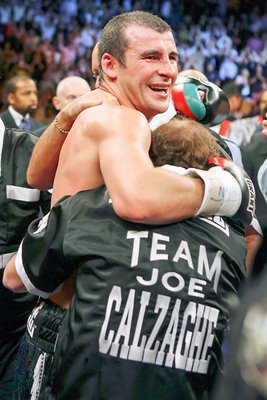 Team Calzaghe celebrate win over Hopkins