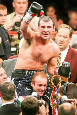 Joe Calzaghe celebrates Hopkins win