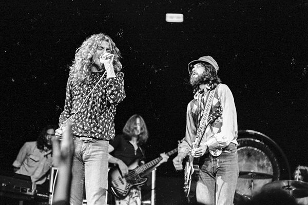 Robert Plant of Led Zeppelin on stage