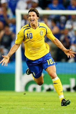 Zlatan Ibrahimovic scores for Sweden Euro 2008