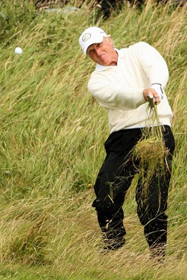 Greg Norman blasts from Birkdale rough