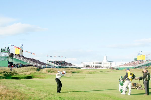 Greg Norman plays up the 18th at Royal Birkdale